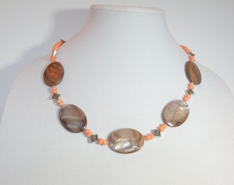 Peach and Brown Necklace Set