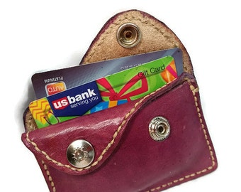 Mini Wallet - Credit Card Wallet - Coin Wallet - Leather Wallet - Anniversary Gift - Small Wallet - Mom Gift. Holds 5 Credit Cards.