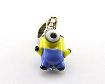 Minion Despicable me  Lampwork  charm /necklace / pendant / Bead / miniature / sculpture / figurine