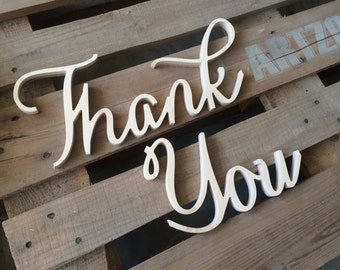 Caligraphy font Thank You photo prop wedding sign. Photo prop signs Thank you.