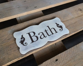 Cottage chic wood sign BATH, sign for rustic bathroom decor, wall decor bath sign wooden letters , signage for bathroom, bath wood sign