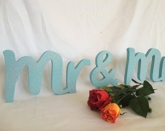 Blue Glitter Mr And Mrs signs top table. Wedding top table signs.