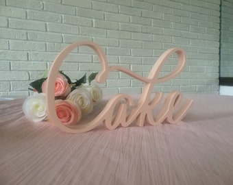 Wedding  Cake table  sign in pale pink Cake. Party decor wooden letters, script font  word Cake