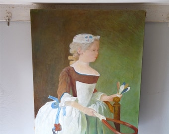 French Antique Oil Painting  - Shabby Chic Romantic Painting - Antique Art French Antique Home