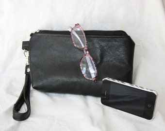 Leather wristlet, make-up bag, clutch purse, black, large, silk-lined, upcycled leather