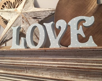 Wooden Letters - Hand-painted - LOVE - Victorian, Free-standing, 30cm, various colours and finishes