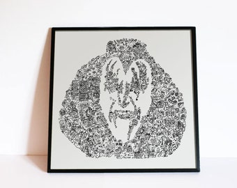Gene Simmons from Kiss Band  - Portrait made of intricate doodles  - Limited Edition Print - Rock and Roll Home deco wall art