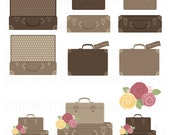 Clip Art Set - Suitcases and Flowers - Bon Voyage Travel Series - Brown & Tan Colors - 12 Digital Files - JPG and PNG Format - ID 253