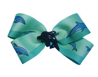 Large Blue Dolphin Hair Bow