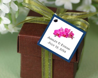100 Orchids Favor Tags.  Wedding favors