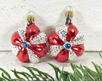 Vintage Glass Christmas Ornaments, Flower Ornaments, Christmas Tree Ornament, Red Silver Ornaments, 1960s Christmas Holiday Decoration Decor