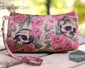 Coraline Clutch Wristlet Strap Skull Skeleton Resting in Roses, bones,spooky, halloween, bag, small, black, goth,pirate, Purse