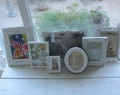 Shabby Chic Gallery Collection in White  -  7 Picture Frames  With Easels & Wall Hardware - Ornate Vintage Distressed in  White