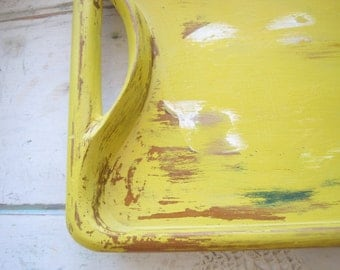 Primitive Rustic Carved Wood Serving Tray - Distressed in Buttery Yellow
