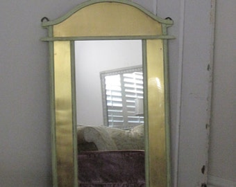 Gothic Arched Mirror - Shabby Chic  Wall Mirror  with Shelf and Brass Inserts - Distressed in Green