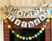 Birthday Banner / Boy or Girl HAPPY BIRTHDAY Decorations / Polka dot 1st birthday banner and Garland Set / Custom Name and colors