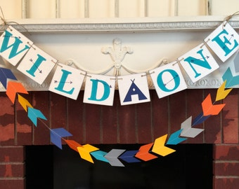Aztec 1st Birthday decorations - Wild One birthday banner - Wild One Birthday Garland - Adventure birthday decor - your color choice