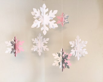 Pink and Silver ONEderland Birthday Decorations - Little Snowflake - Winter Birthday Decor- Silver Snowflake Garland- your color choice