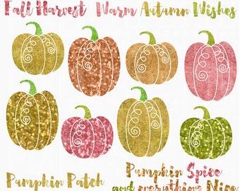 glitter pumpkins clipart clip art digital halloween - Glitter Pumpkins Digital Clipart