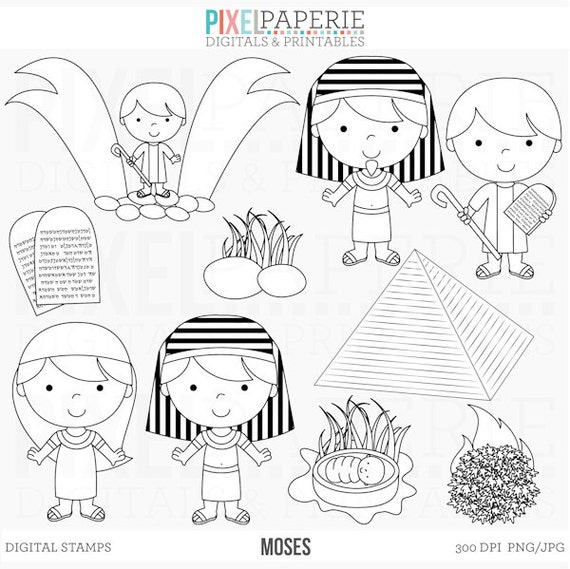 Bible Characters Christian Stamps Clipart Clip Art Moses