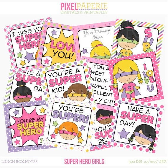 school lunch box notes printable digital - Super Hero Girls Lunch Box Notes Printable