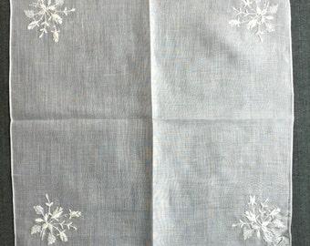 Vintage Unused White on White Handkerchief from Burmel 1234