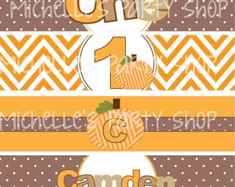 NEW - PRINTABLE, set of 4,  Pumpkin Patch Water Bottle Labels