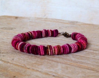 Beaded Bracelet - Fabric Textile Beads - Fiber Art - Fiber Bracelet - Unique Handmade Bracelet