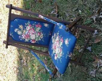 Victorian Folding Chair Quilted Upholstery Amazing Surviving Example Prop Master Find by AntiquesandVaria