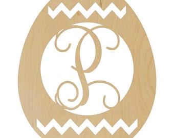 Monogrammed Easter Egg Door Hanger - Unpainted - VINE FONT, Wooden Easter Egg, Easter Egg Border, Easter Egg Monogram - A130647