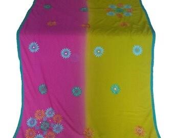 Used Sari, Dress Making, Fabric, Sarong, Drape, Embroidered Sari in fuschia and lime green
