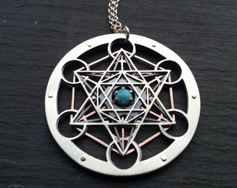 Large Turquoise Metatron's Cube Pendant - triple layer sterling silver, oxidised copper and 9ct gold - Handcrafted Sacred Geometry Jewellery