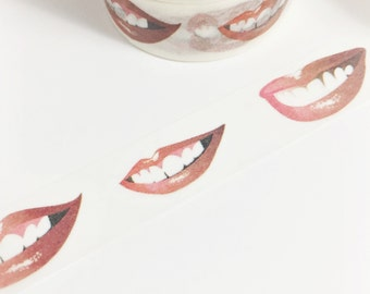 Bright Red Lips and Shiny White Teeth Smile Washi Tape 11yards 10meters 15mm