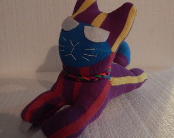 Upcyle sock angry wild cat plush kitty bright colors rag doll sock animal purple cat