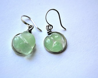 UV Green Genuine Sea Glass Silver Circle Resin Drop Mosaic Earrings