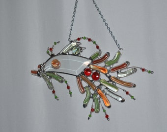Fish - Fantasy - Glass - Sun Catcher - Funny Fish Decor - Fish Art - Wall - Window - Water Art - Funky - Fish Sun Catcher - Orange Green
