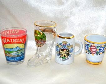 World Glass and Pottery Beer Mugs Shot Glasses Collectible Jigger Cups Miniature Majolica Barware Ceramics Set of 4 Oddities