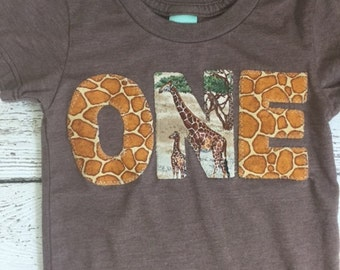 Giraffe birthday shirt, giraffe shirt, zoo animal party, animal print, safari party, custom birthday shirt, children's shirt