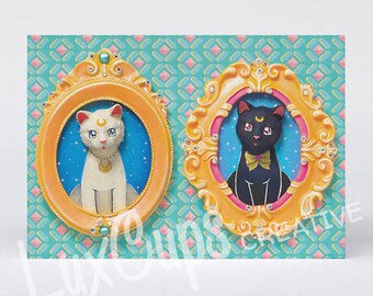 Greeting Card - Artemis & Luna - Sailor Moon Cats 3D Cameo Faux Taxidermy Cat Art Kitty Card Cat Card Kitty Note Card Kitsch Cards
