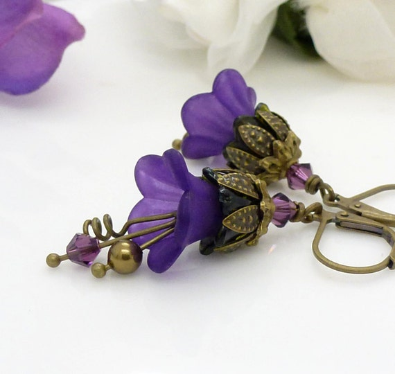 items similar to dark purple earrings violet purple lucite flower earrings antique bronze. Black Bedroom Furniture Sets. Home Design Ideas