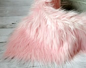 CLEARANCE-Soft Pink Faux Fur, Newborn Photo Prop, Fur rug, Basket Filler, Faux Fur Fabric, Mongolian Fur, Basket Stuffer, Backdrop