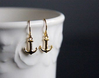 Tiny Anchor Earrings Summer Beach Gold Anchor Jewelry Nautical Earrings Little Anchor Charm Nautical Jewelry - E295