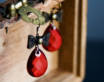 Brown Bow Red Drop Earrings Bronze Bow Filigree Faceted Drop Raspberry Red Bow Earrings Ruby Red Jewelry - E297