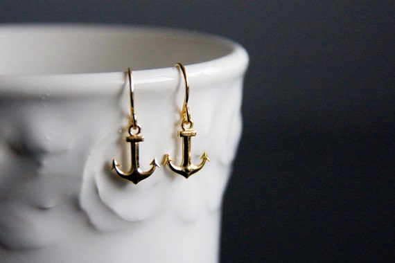 Tiny Anchor Earrings Summer Beach Gold Anchor Jewelry Nautical Earrings Little Anchor Charm Nautical Jewelry - E295