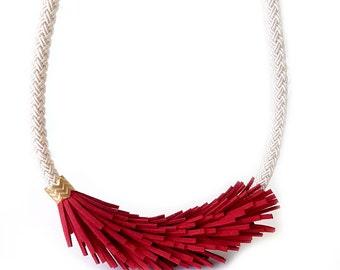 Leather Statement Necklace, Rope Necklace, Fringe Necklace, Bib Necklace