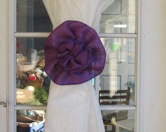 PURPLE Burlap Flower Curtain Tie Back Pew Bow Wedding Decoration Home Decor