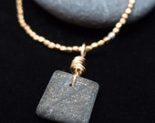 Wire wrapped Ocean Stone with Gold-plated brass bead Necklace
