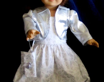 Silver & White  Dress with Jacket, Purse Fits American Girl or Similar 18 Inch Doll