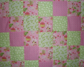 SALE Strawberry Shortcake Patchwork  Quilt