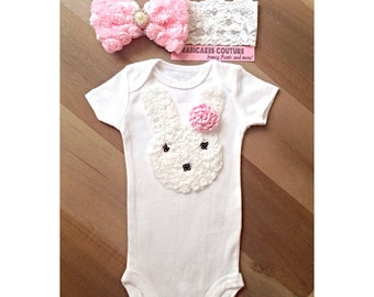 Easter Bunny Couture White Bodysuit & Pink Chiffon Bow Headband Set 1st Easter, Spring, Newborn Girl, New Baby Photo Session Prop